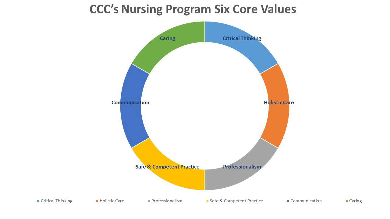 NVCC Nursing Program Chart showing six core values: Caring, Critical Thinking, Holistic Care, Professionalism, Safe & Competent Practice, Communication.